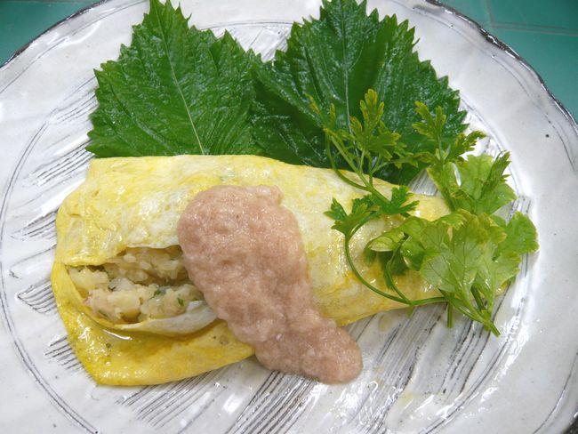 自然薯入りオムレツ 明太とろろソースかけ ♪~敬老の日のごちそうにいかがでしょうか ♪